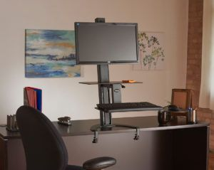 HEALTH POSTURES TASKMATE GO #6300 SIT STAND WORKSTATION. 100% MADE IN USA. BAA & TAA Compliant: