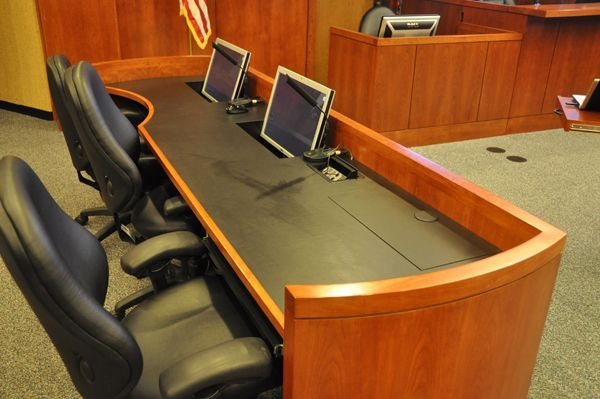 ATTORNEY TABLE DESKS. COURTROOM FURNITURE: