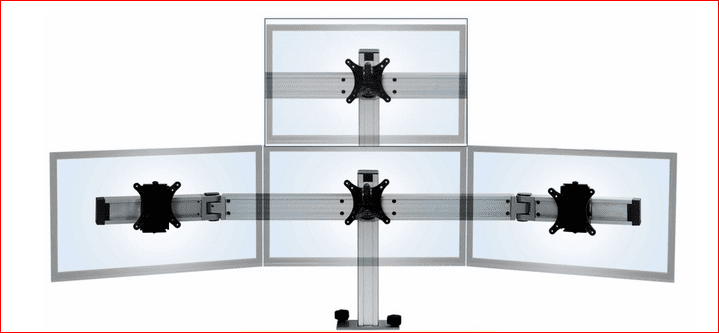 "MASTER YOUR MONITORS W/THIS QUAD MONITOR MOUNT. HOLDS MONITORS FROM 19"" TO 24"". #BILD-E000028763 FROM ERGONOMICHOME.COM. FREE SHIPPING. VIDEO: </b></font>"