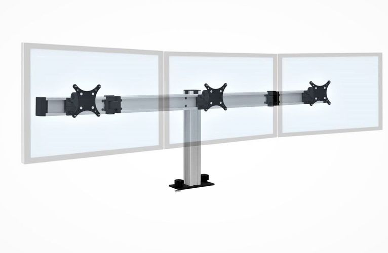 BILD TRIPLE MULTI-MONITOR STAND SUPPORT THREE MONITOR SIDE BY SIDE IN AN ARC. BUILT LIKE A SKYSCRAPER.  FREE SHIPPING FURNITURE. #ITEM BILD-3-CM