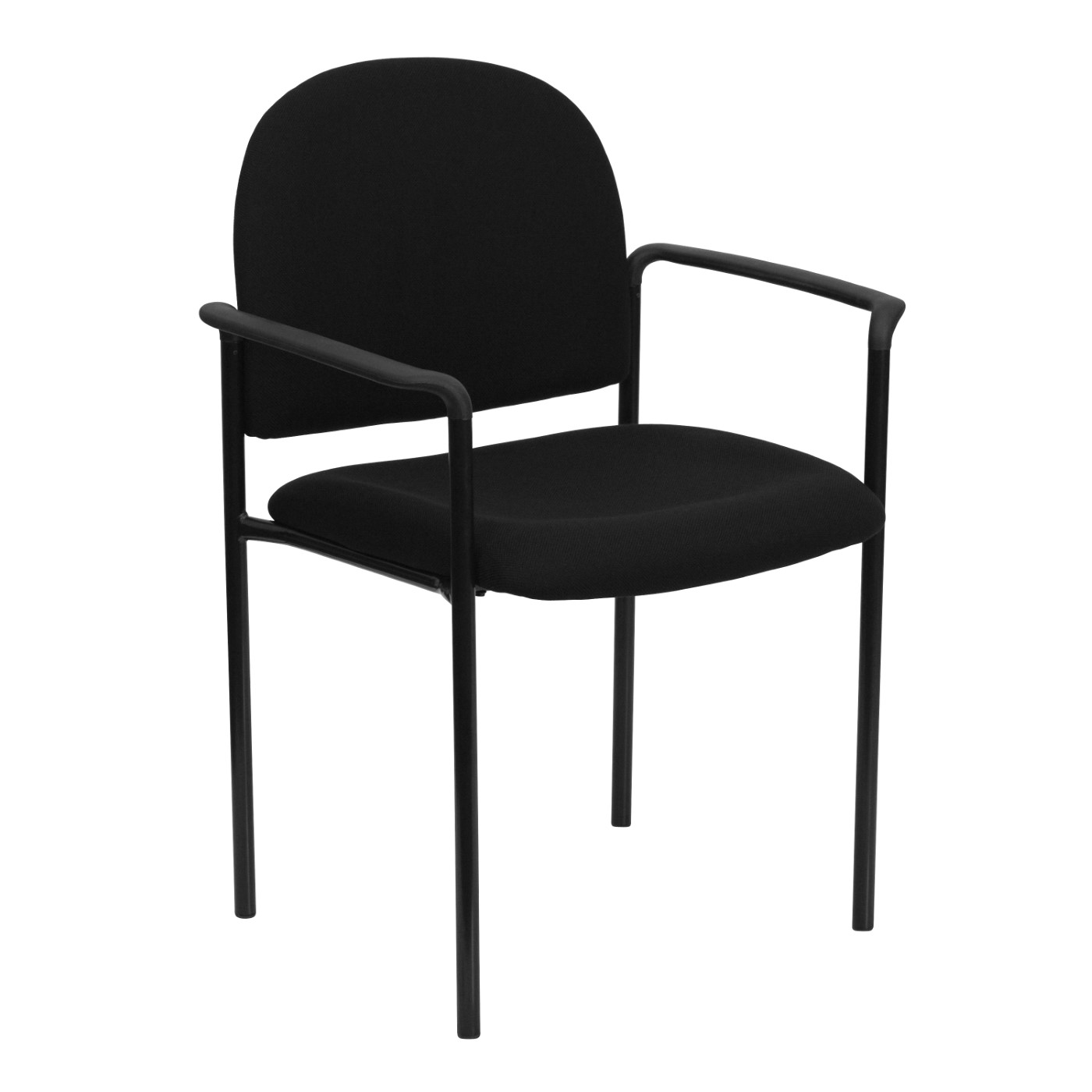 Comfort Black Fabric Stackable Steel Side Reception Chair with Arms