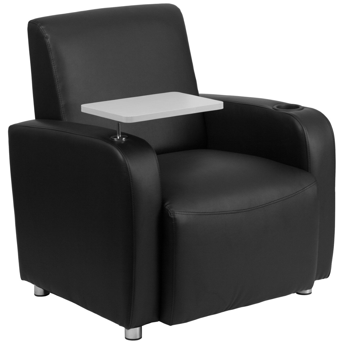 Black LeatherSoft Guest Chair with Tablet Arm, Chrome Legs and Cup Holder