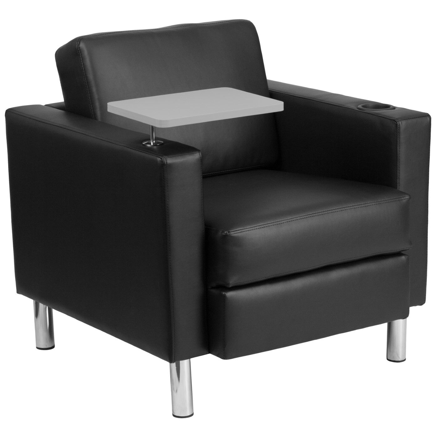 Black LeatherSoft Guest Chair with Tablet Arm, Tall Chrome Legs and Cup Holder