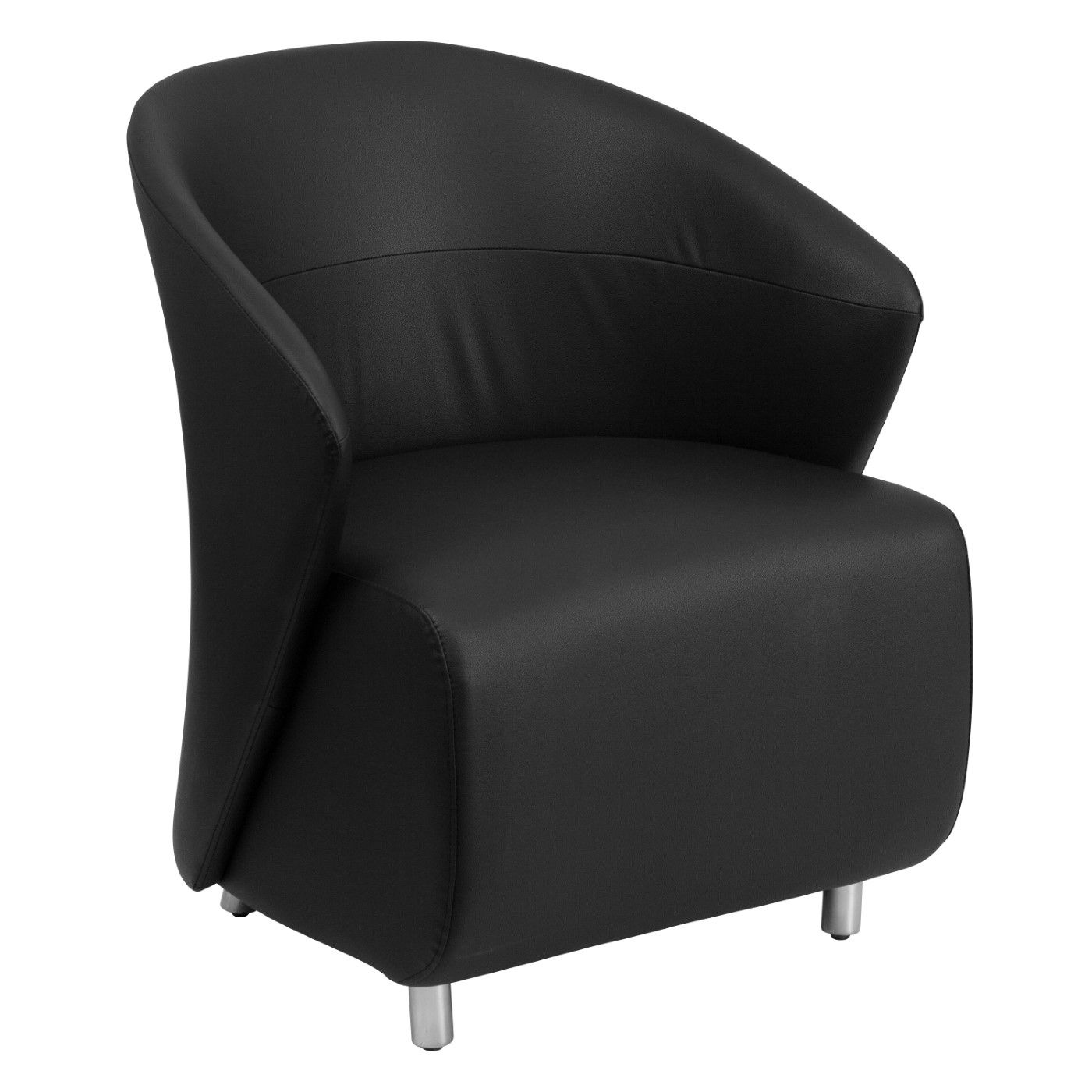 Black LeatherSoft Curved Barrel Back Lounge Chair