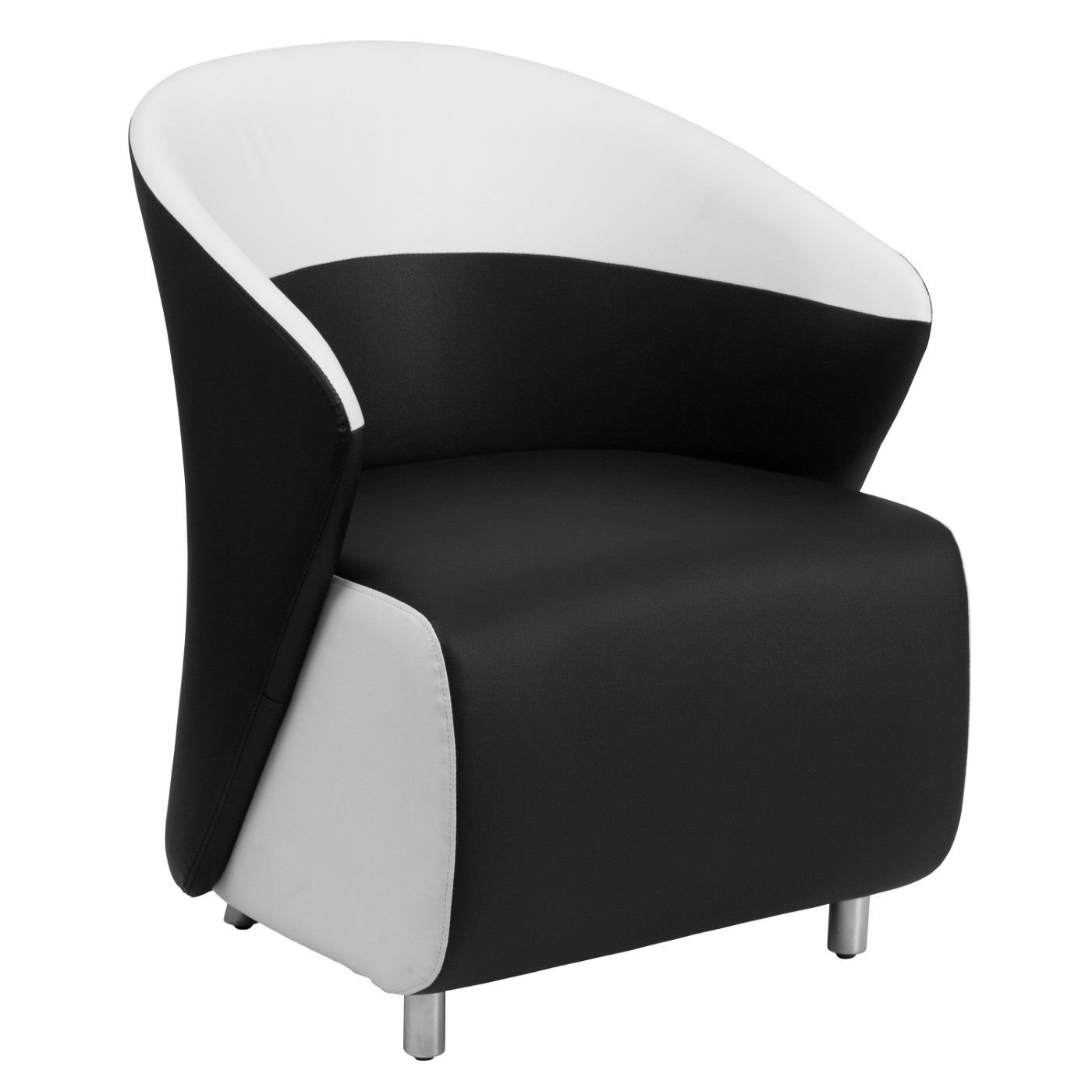 Black LeatherSoft Curved Barrel Back Lounge Chair with Melrose White Detailing