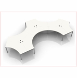 BLADE POD OF 9. DOGBONE SHAPED-120 DEGREE BENCH DESK SYSTEM. ADD ONLY THE OPTIONS YOU NEED. FREE SHIPPING 5-7 BIZ DAYS. OPTIONAL ASSEMBLY AVAILABLE.
