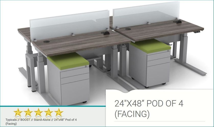 "ERGONOMICHOME.com BOOST CONTROL ROOM FURNITURE POD OF 4 FACING 24""x48"". FREE SHIPPING 5-7 BIZ DAYS: </b></font>"