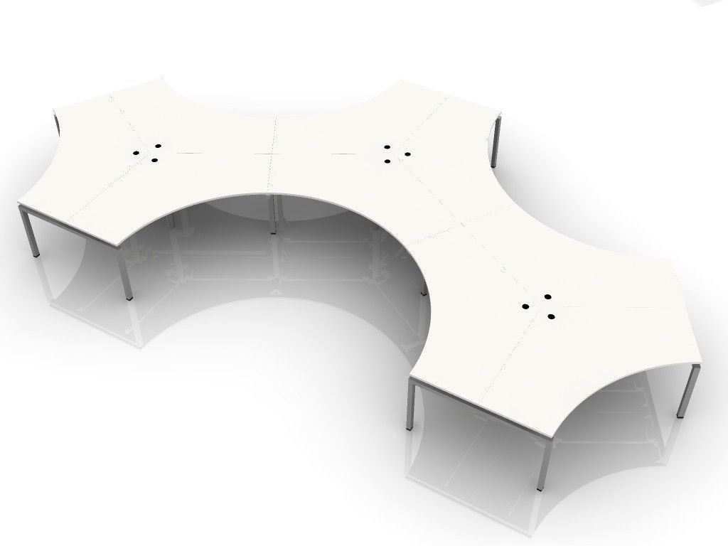BLADE POD OF 9. DOGBONE SHAPED-120 DEGREE BENCH DESK SYSTEM. ADD ONLY THE OPTIONS YOU NEED BELOW. FREE SHIPPING 5-7 BIZ DAYS. OPTIONAL ASSEMBLY AVAILABLE.