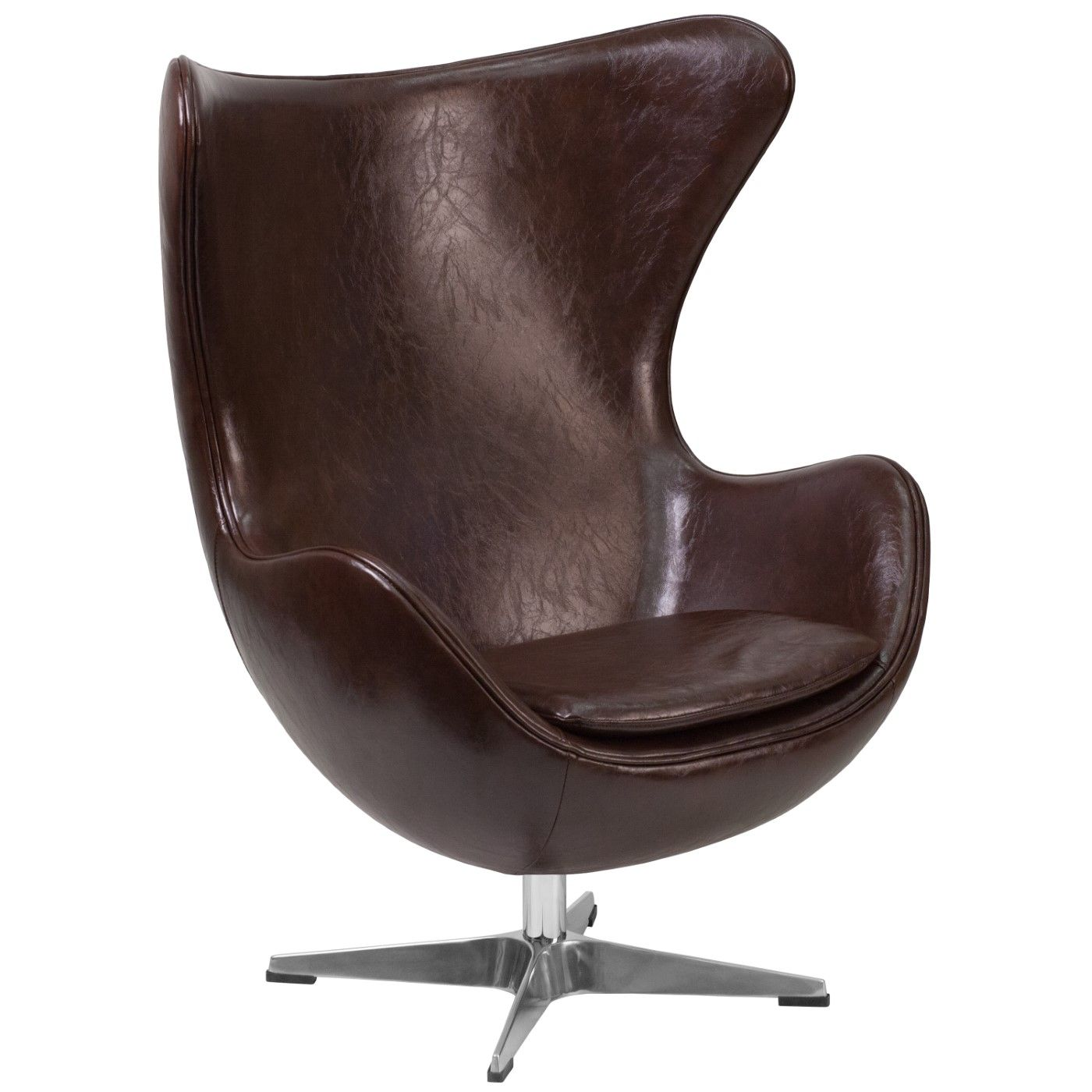 Brown LeatherSoft Egg Chair with Tilt-Lock Mechanism