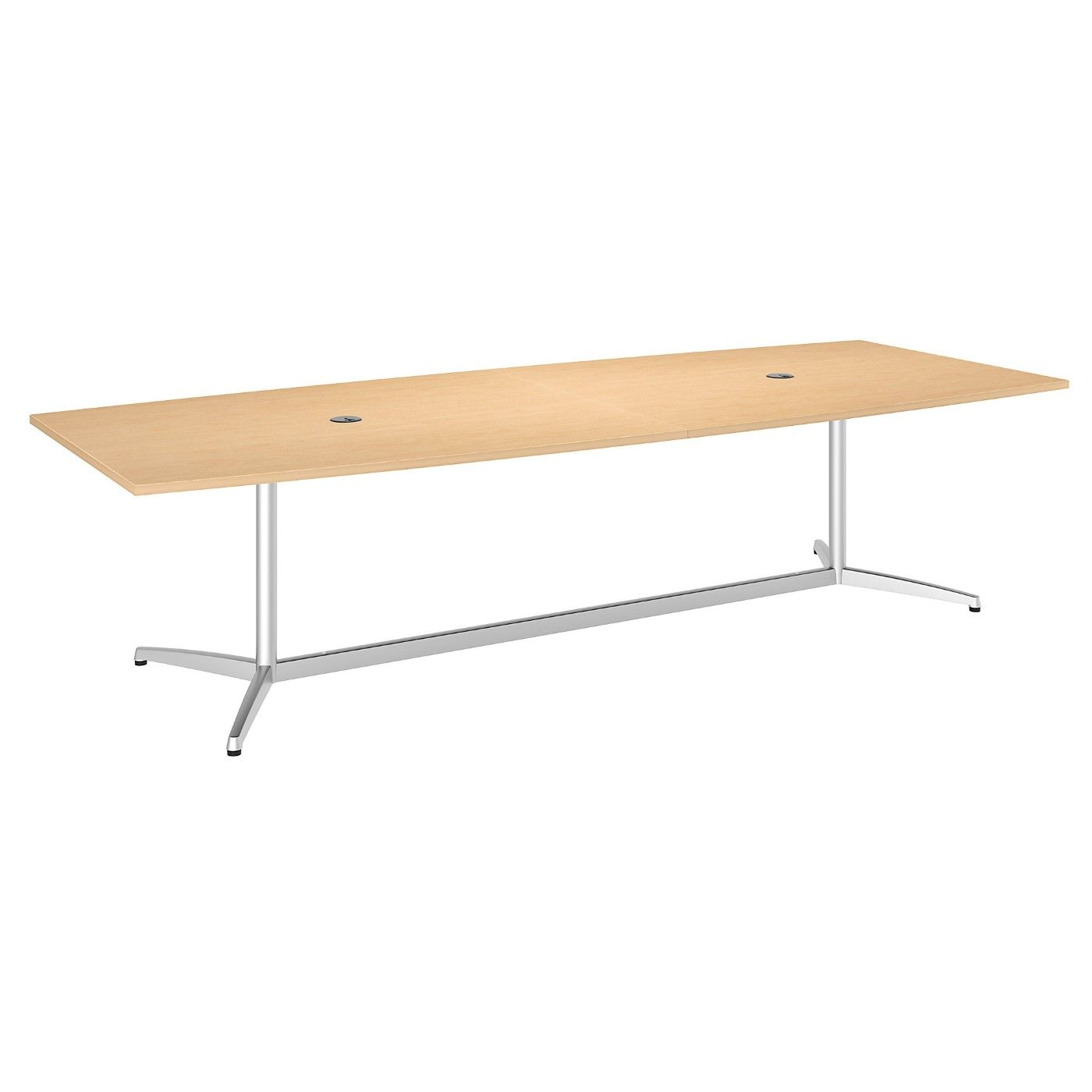 BUSH BUSINESS FURNITURE 120W X 48D BOAT SHAPED CONFERENCE TABLE WITH METAL BASE. FREE SHIPPING