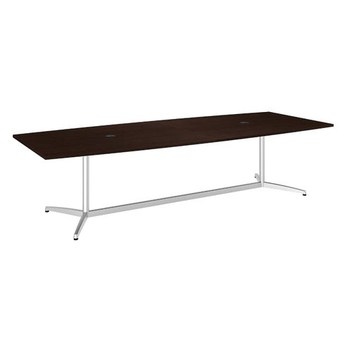 BUSH BUSINESS FURNITURE 120W X 48D BOAT SHAPED CONFERENCE TABLE WITH METAL BASE. FREE SHIPPING - <font color=red><b>OUT OF STOCK</b></font>