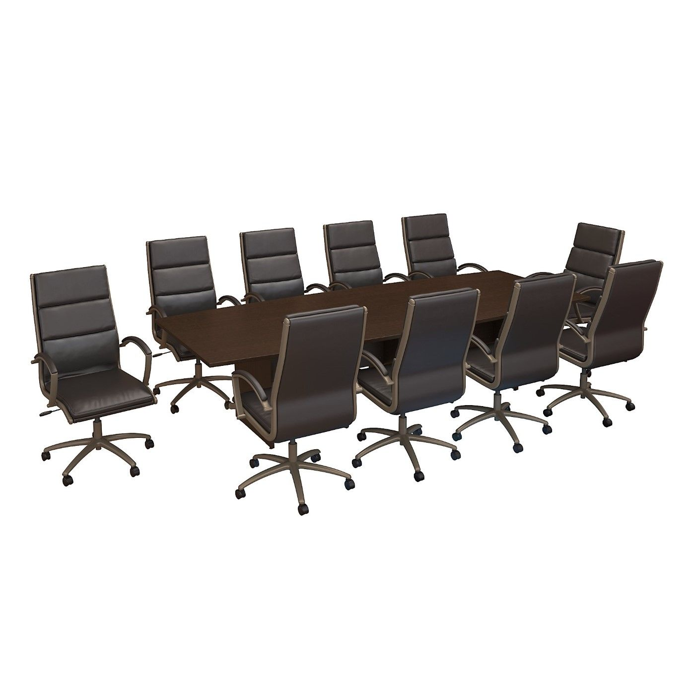 BUSH BUSINESS FURNITURE 120W X 48D BOAT SHAPED CONFERENCE TABLE WITH WOOD BASE AND SET OF 10 HIGH BACK OFFICE CHAIRS. FREE SHIPPING