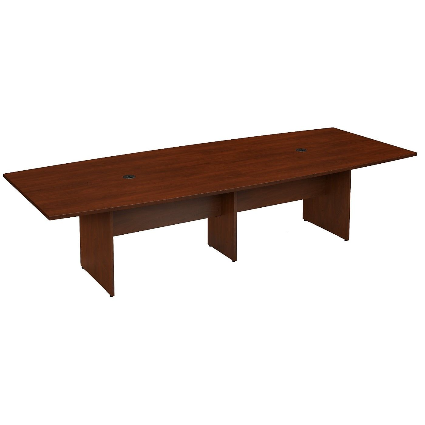BUSH BUSINESS FURNITURE 120W X 48D BOAT SHAPED CONFERENCE TABLE WITH WOOD BASE. FREE SHIPPING