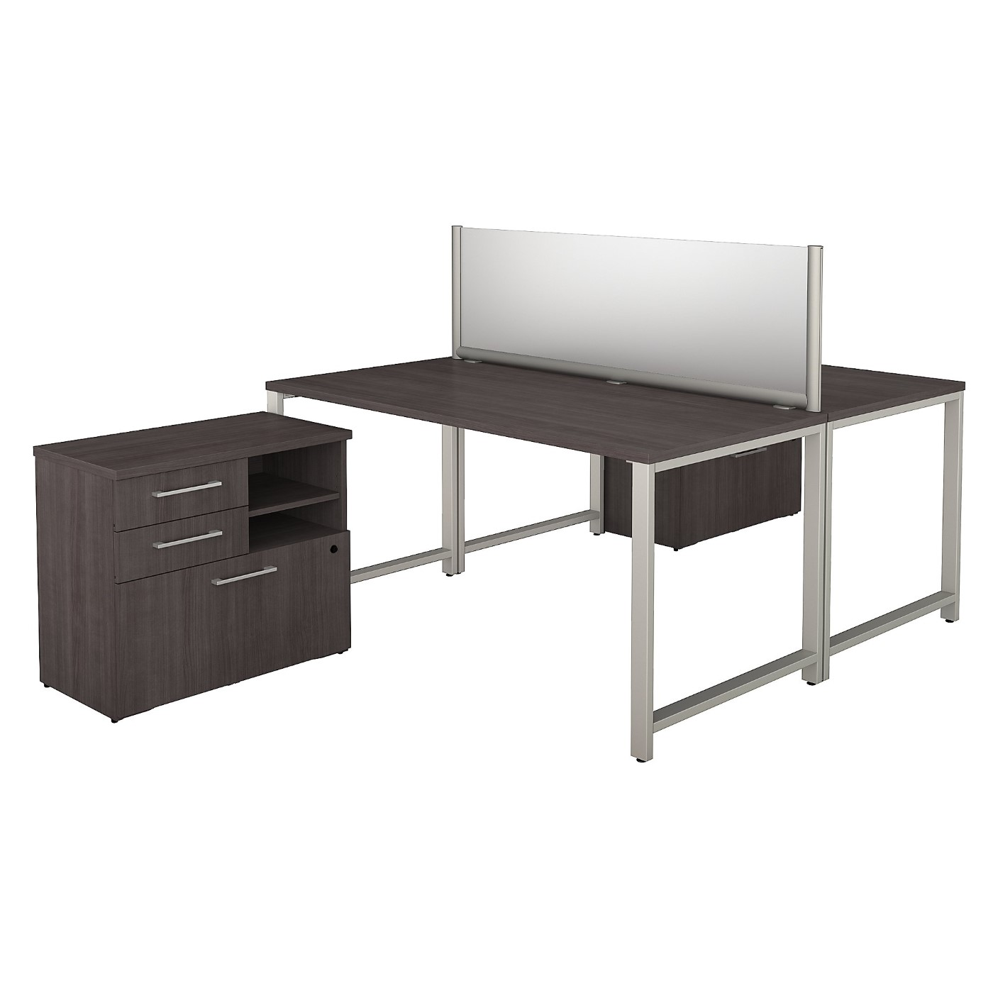 BUSH BUSINESS FURNITURE 400 SERIES 60W X 30D 2 PERSON WORKSTATION WITH TABLE DESKS AND STORAGE. FREE SHIPPING