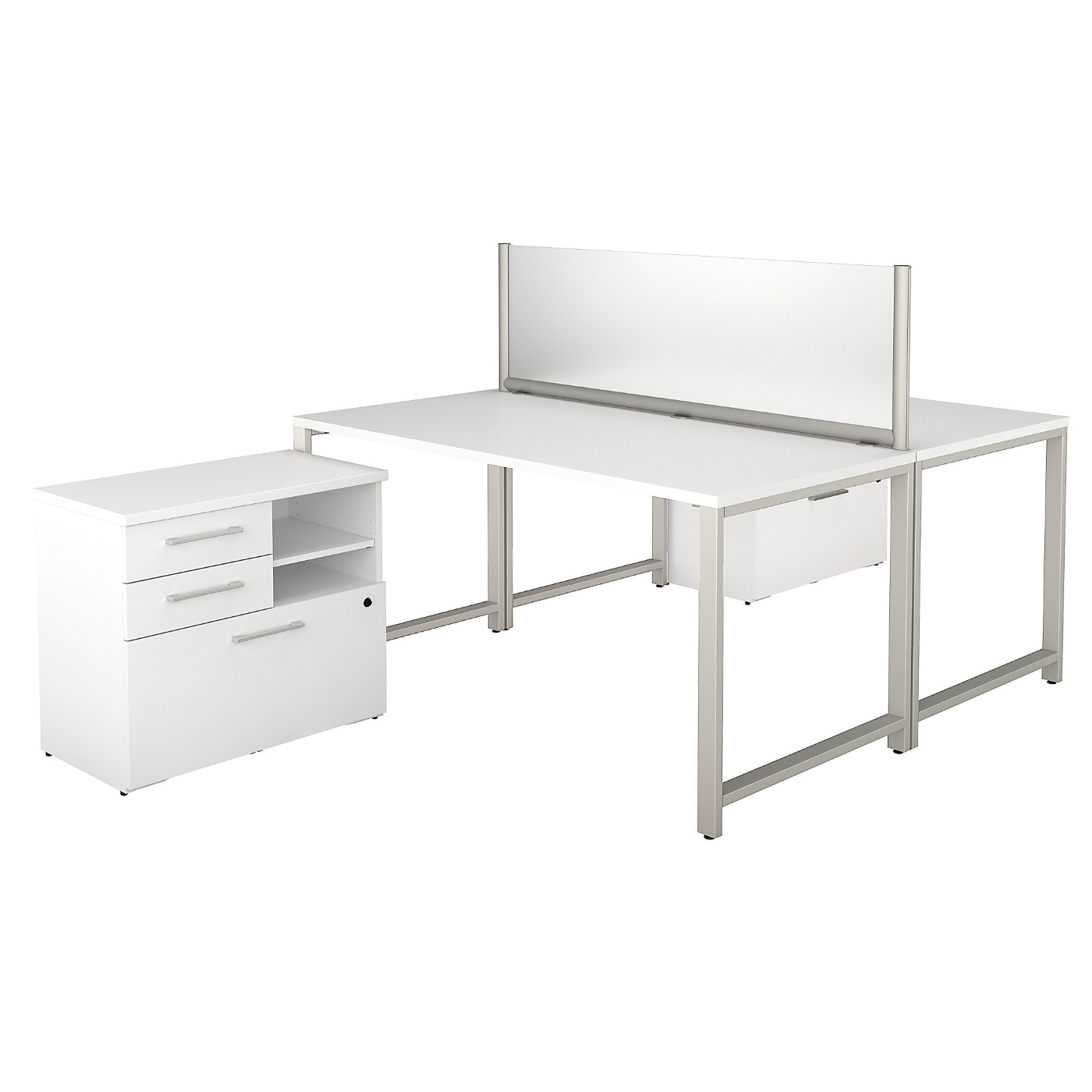 BUSH BUSINESS FURNITURE 400 SERIES 60W X 30D 2 PERSON WORKSTATION WITH TABLE DESKS AND STORAGE. FREE SHIPPING SALE DEDUCT 10% MORE ENTER '10percent' IN COUPON CODE BOX WHILE CHECKING OUT.