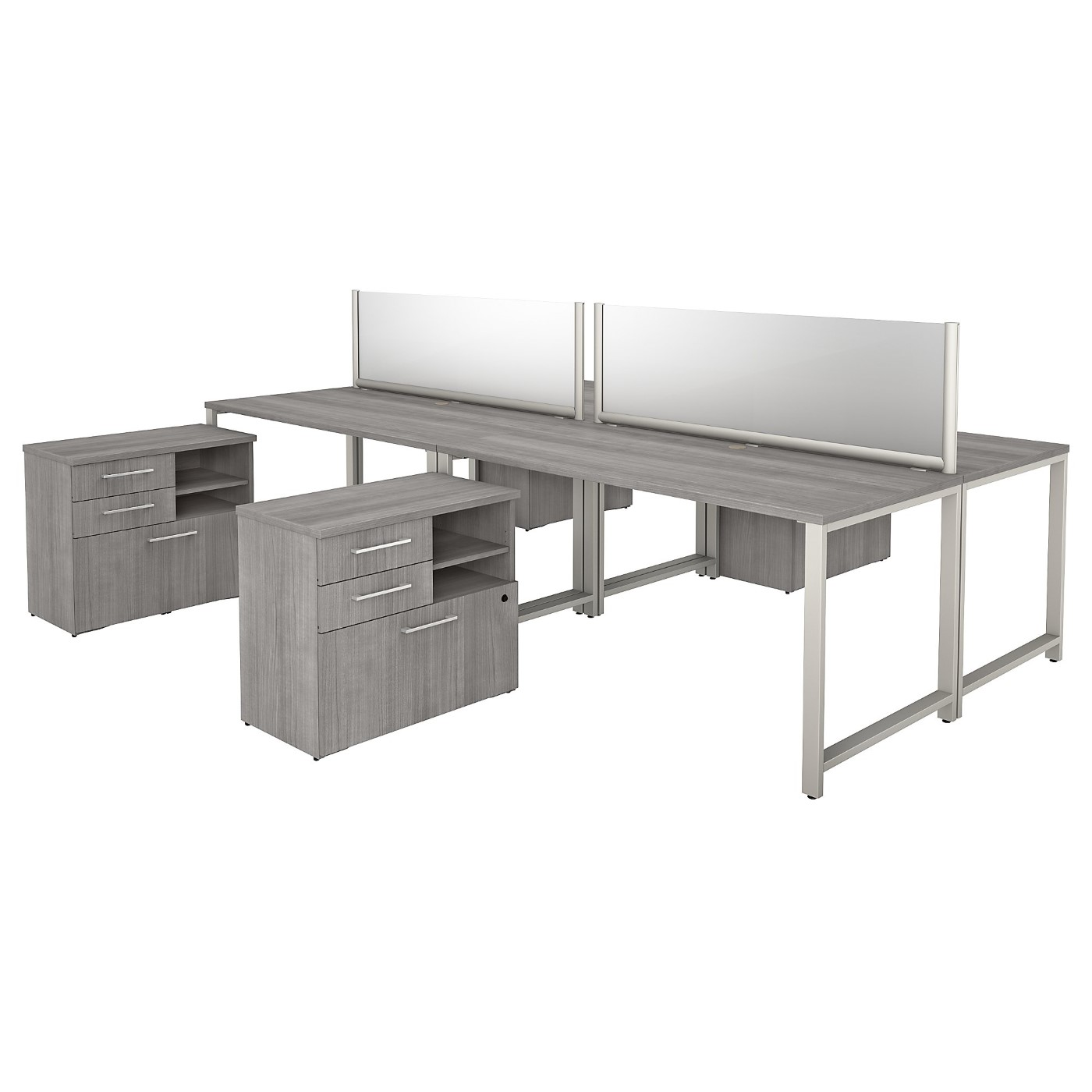 BUSH BUSINESS FURNITURE 400 SERIES 60W X 30D 4 PERSON WORKSTATION WITH TABLE DESKS AND STORAGE. FREE SHIPPING