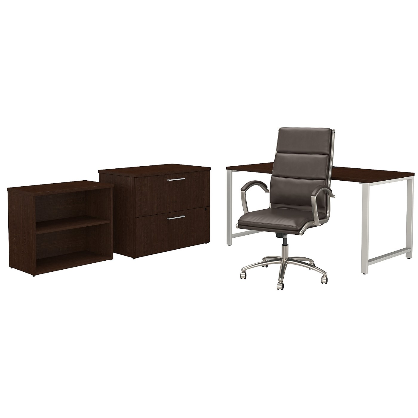 BUSH BUSINESS FURNITURE 400 SERIES 60W X 30D TABLE DESK AND CHAIR SET WITH STORAGE. FREE SHIPPING