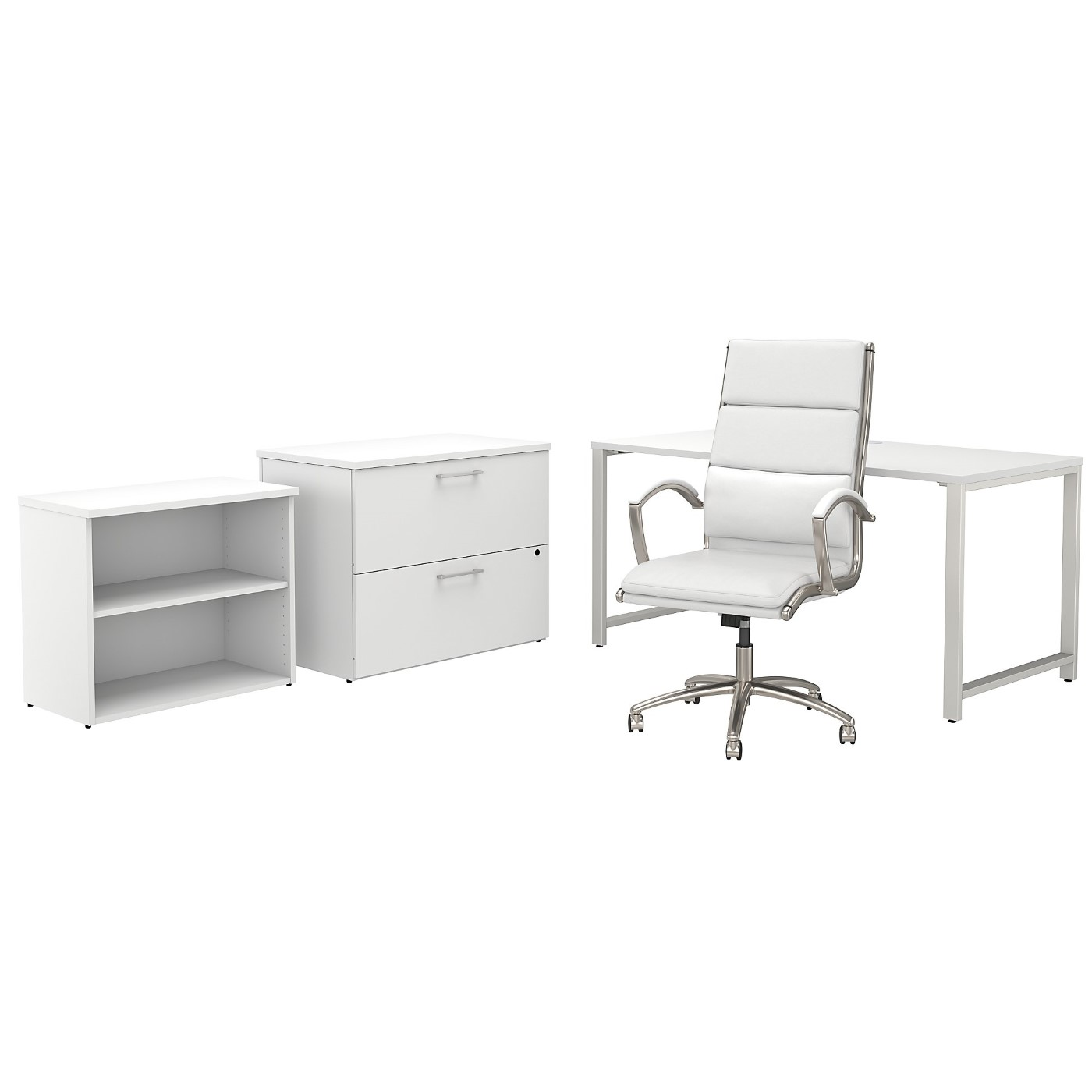 BUSH BUSINESS FURNITURE 400 SERIES 60W X 30D TABLE DESK AND CHAIR SET WITH STORAGE. FREE SHIPPING SALE DEDUCT 10% MORE ENTER '10percent' IN COUPON CODE BOX WHILE CHECKING OUT.