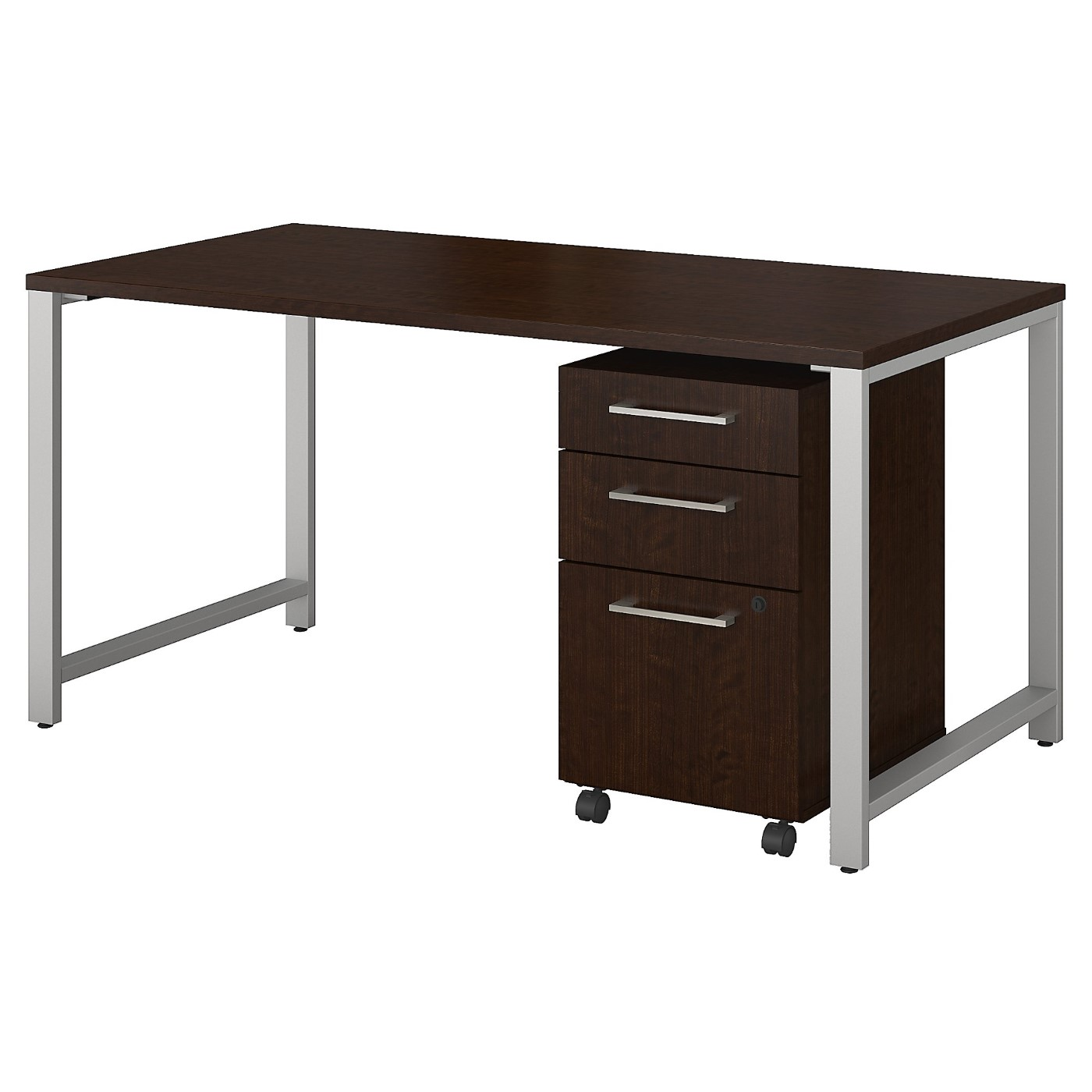 BUSH BUSINESS FURNITURE 400 SERIES 60W X 30D TABLE DESK WITH 3 DRAWER MOBILE FILE CABINET. FREE SHIPPING
