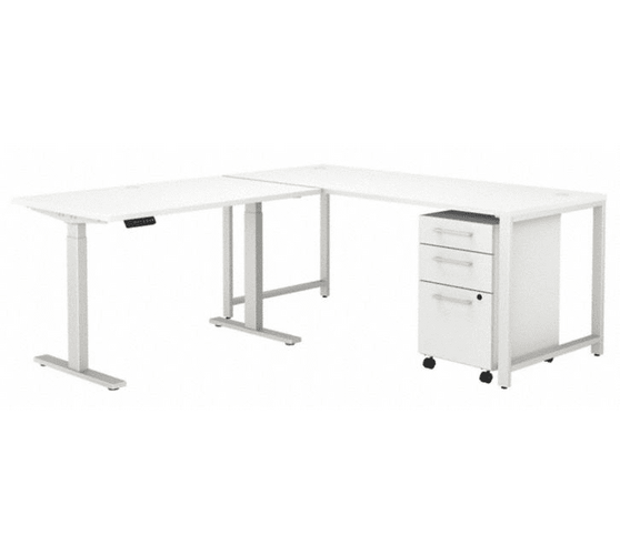 BUSH BUSINESS FURNITURE 400 SERIES 72W L SHAPED ADJUSTABLE DESK WITH STORAGE. FREE SHIPPING