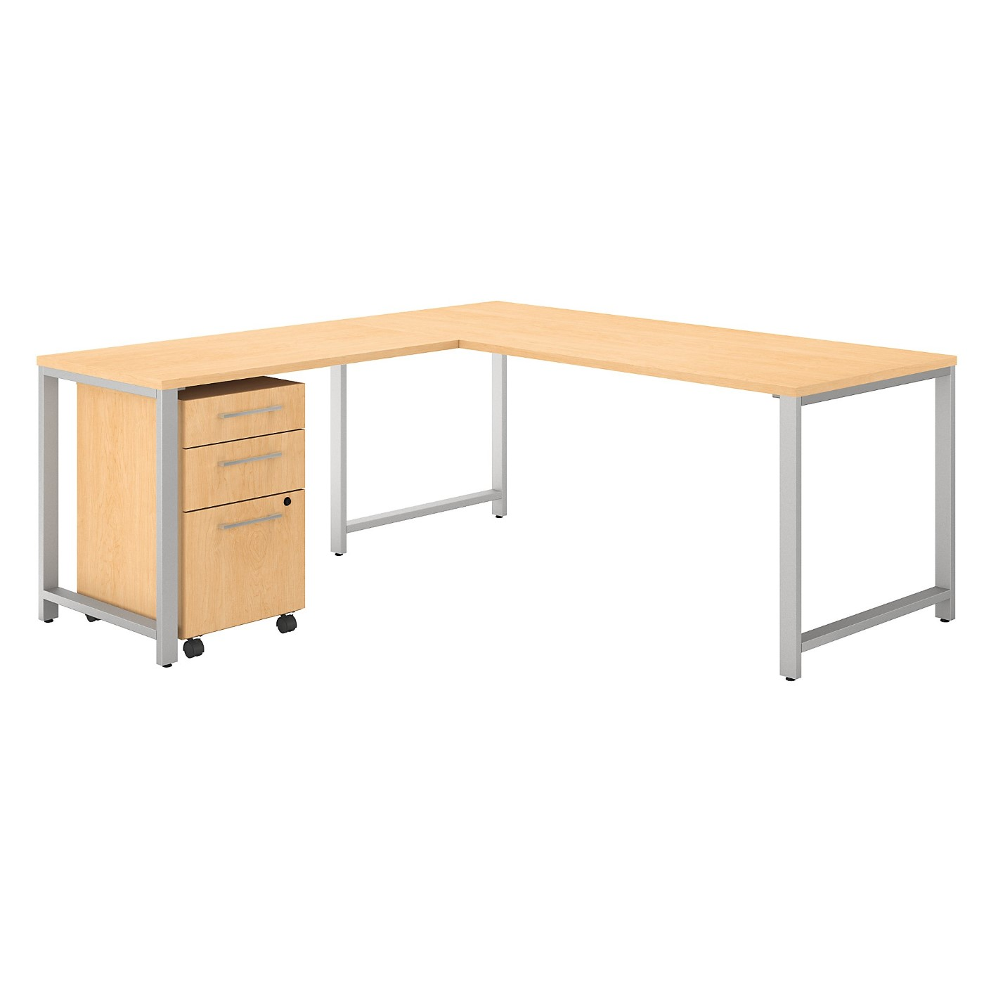 BUSH BUSINESS FURNITURE 400 SERIES 72W L SHAPED DESK WITH 48W RETURN AND 3 DRAWER MOBILE FILE CABINET. FREE SHIPPINGTAA COMPLIANTAMERICAN MADE 30H x 72L x 72W.