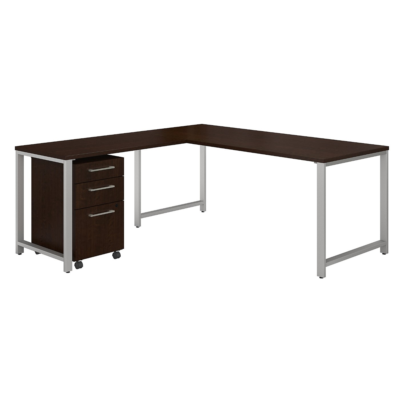 BUSH BUSINESS FURNITURE 400 SERIES 72W L SHAPED DESK WITH 48W RETURN AND 3 DRAWER MOBILE FILE CABINET. FREE SHIPPING|TAA COMPLIANT|AMERICAN MADE 30H x 72L x 72W</font></b>&#x1F384<font color=red><b>ERGONOMICHOME HOLIDAY SALE - ENDS DEC. 17, 2019</b></font>&#x1F384
