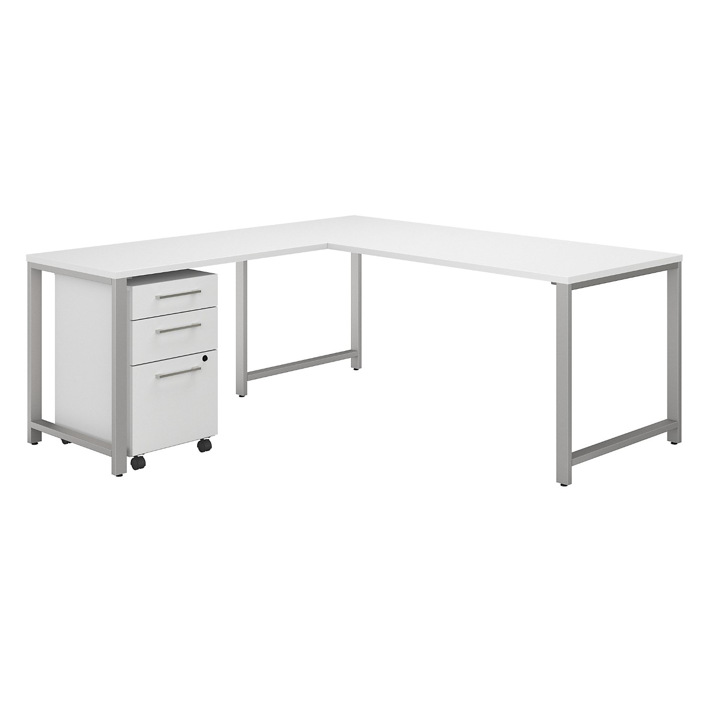 <font color=#c60><b>BUSH BUSINESS FURNITURE 400 SERIES 72W L SHAPED DESK WITH 48W RETURN AND 3 DRAWER MOBILE FILE CABINET. FREE SHIPPING|TAA COMPLIANT|AMERICAN MADE 30H x 72L x 72W</font></b>