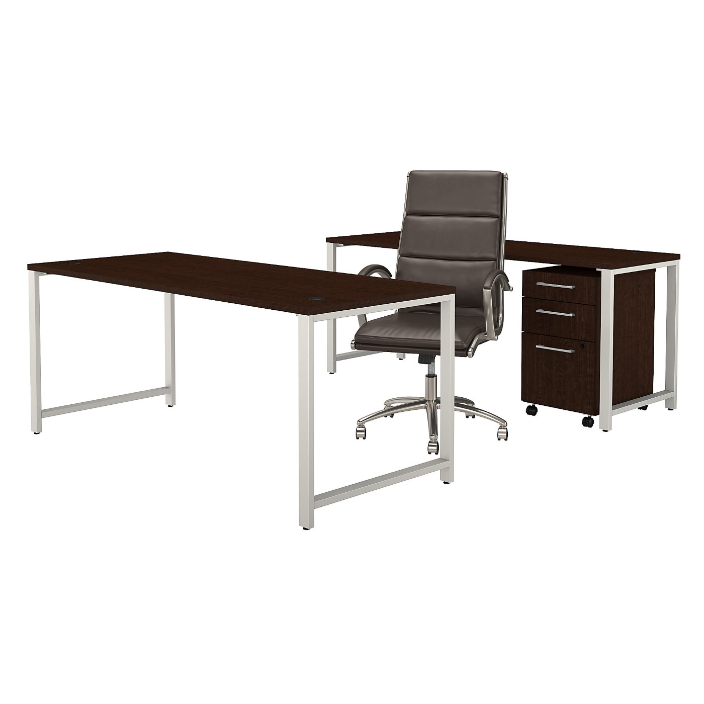 BUSH BUSINESS FURNITURE 400 SERIES 72W TABLE DESK SET WITH OFFICE CHAIR AND MOBILE FILE CABINET. FREE SHIPPING