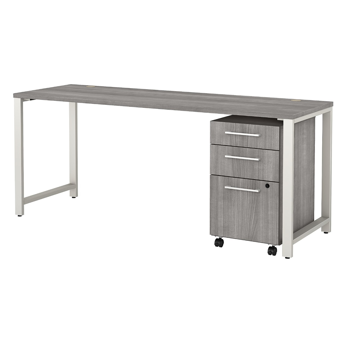 BUSH BUSINESS FURNITURE 400 SERIES 72W X 24D TABLE DESK WITH 3 DRAWER MOBILE FILE CABINET. FREE SHIPPING