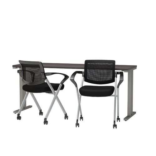 BUSH BUSINESS FURNITURE 400 SERIES 72W X 24D TRAINING TABLE WITH MESH BACK FOLDING CHAIRS. FREE SHIPPING - <font color=red><b>OUT OF STOCK</b></font>