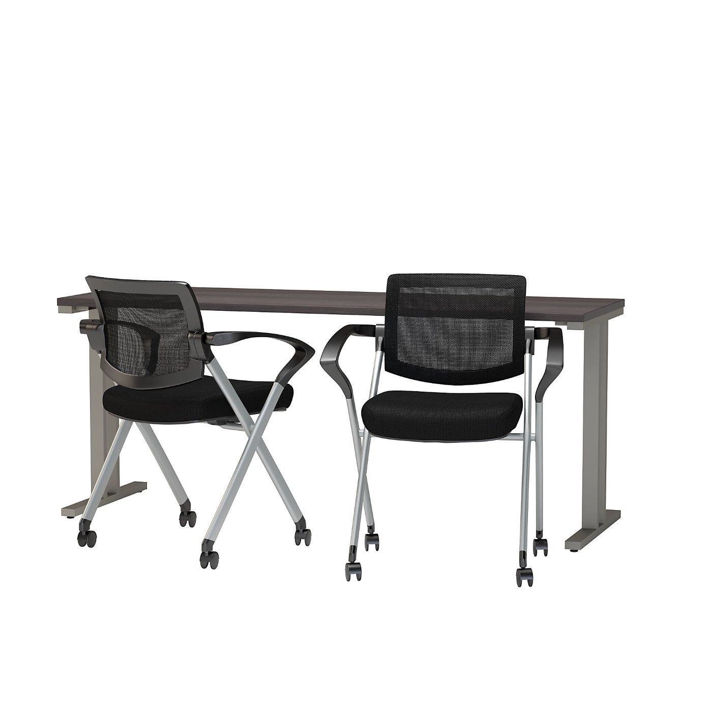 BUSH BUSINESS FURNITURE 400 SERIES 72W X 24D TRAINING TABLE WITH MESH BACK FOLDING CHAIRS. FREE SHIPPING
