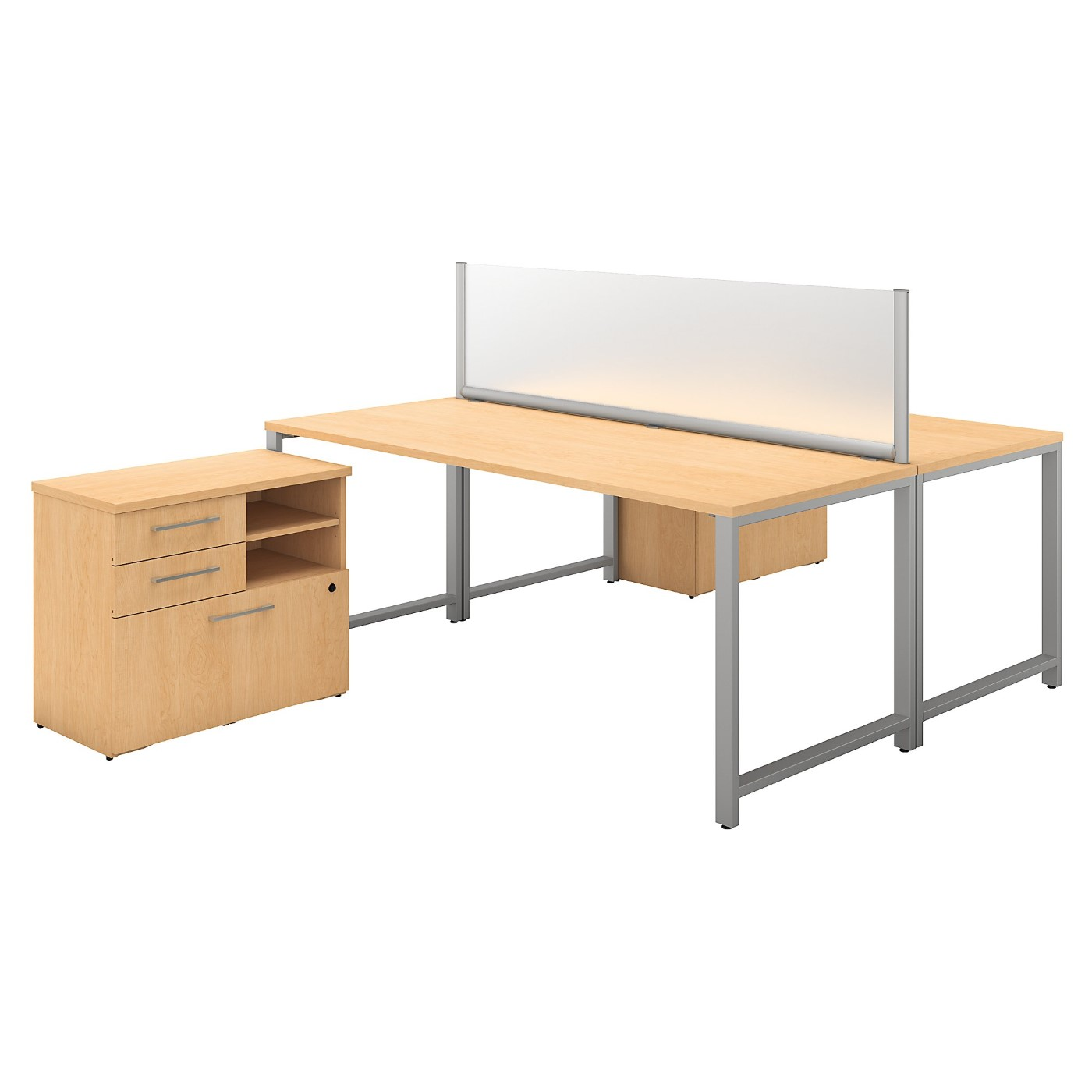 BUSH BUSINESS FURNITURE 400 SERIES 72W X 30D 2 PERSON WORKSTATION WITH TABLE DESKS AND STORAGE. FREE SHIPPING