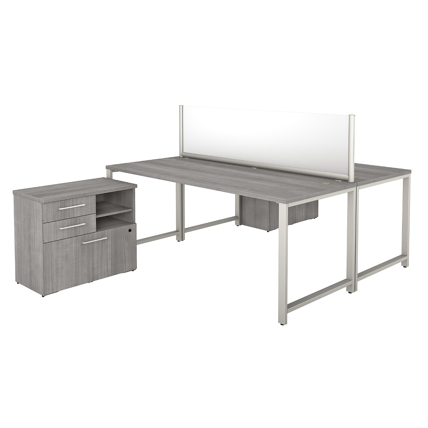 BUSH BUSINESS FURNITURE 400 SERIES 72W X 30D 2 PERSON WORKSTATION WITH TABLE DESKS AND STORAGE. FREE SHIPPING SALE DEDUCT 10% MORE ENTER '10percent' IN COUPON CODE BOX WHILE CHECKING OUT.