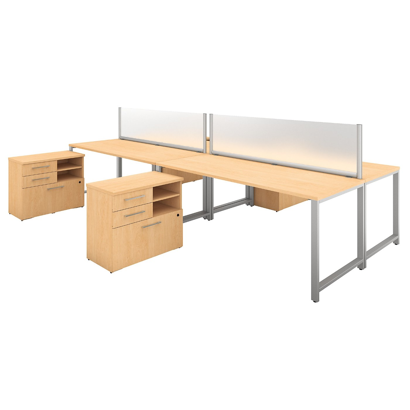 BUSH BUSINESS FURNITURE 400 SERIES 72W X 30D 4 PERSON WORKSTATION WITH TABLE DESKS AND STORAGE. FREE SHIPPING
