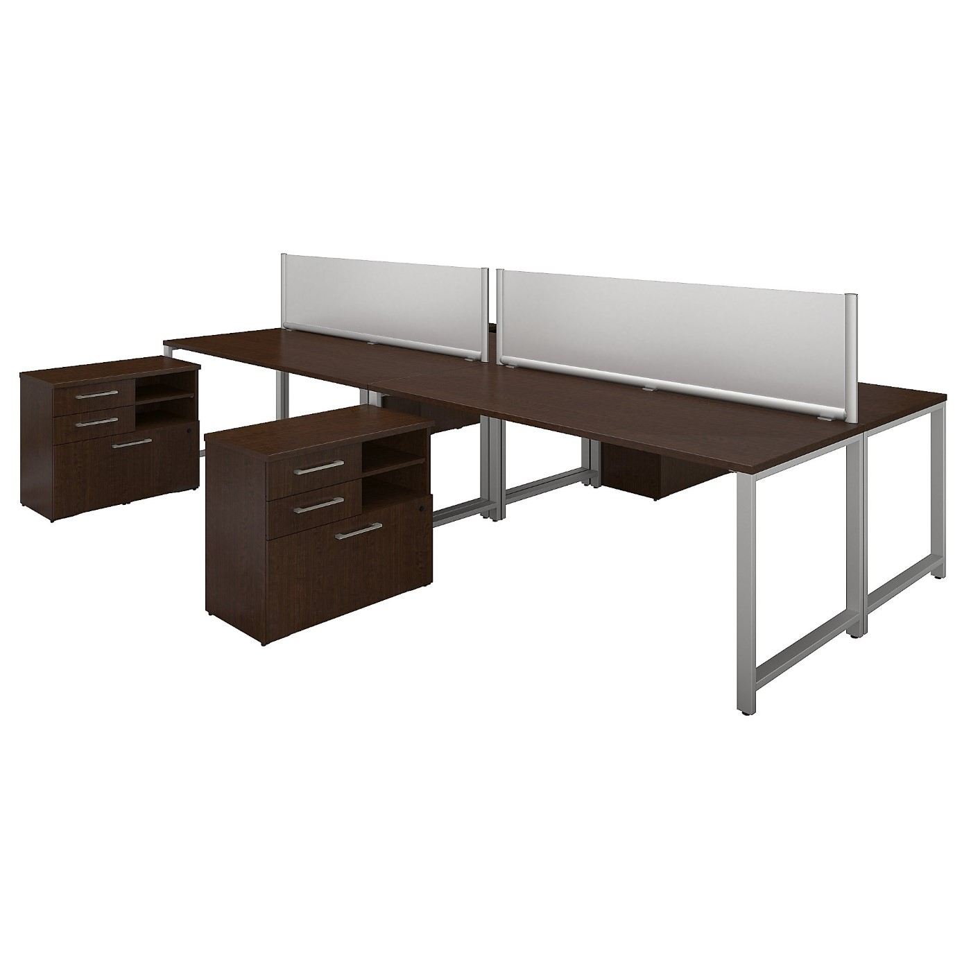 BUSH BUSINESS FURNITURE 400 SERIES 72W X 30D 4 PERSON WORKSTATION WITH TABLE DESKS AND STORAGE. FREE SHIPPING SALE DEDUCT 10% MORE ENTER '10percent' IN COUPON CODE BOX WHILE CHECKING OUT.