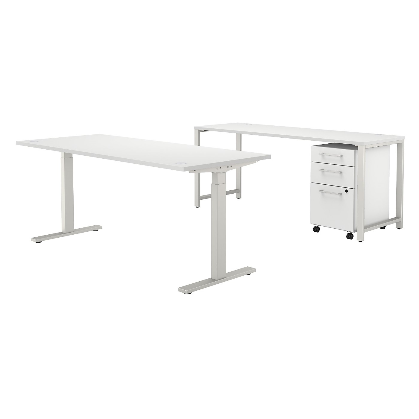 BUSH BUSINESS FURNITURE 400 SERIES 72W X 30D HEIGHT ADJUSTABLE STANDING DESK WITH CREDENZA AND DRAWERS. FREE SHIPPING