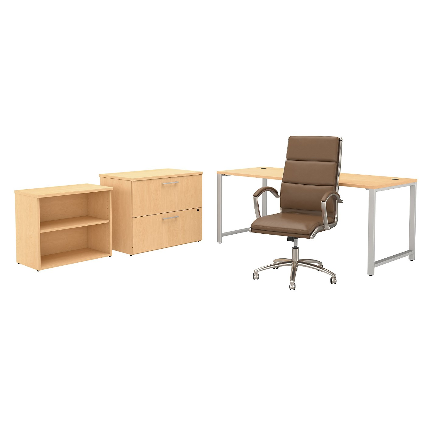 BUSH BUSINESS FURNITURE 400 SERIES 72W X 30D TABLE DESK AND CHAIR SET WITH STORAGE. FREE SHIPPING