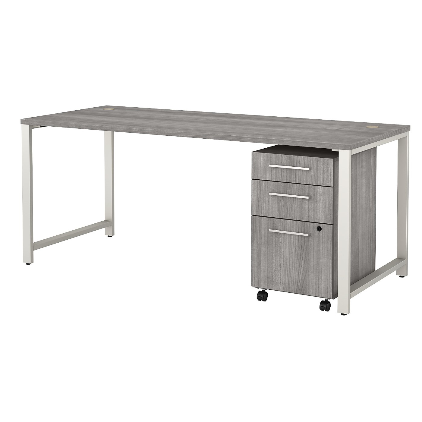 BUSH BUSINESS FURNITURE 400 SERIES 72W X 30D TABLE DESK WITH 3 DRAWER MOBILE FILE CABINET. FREE SHIPPING