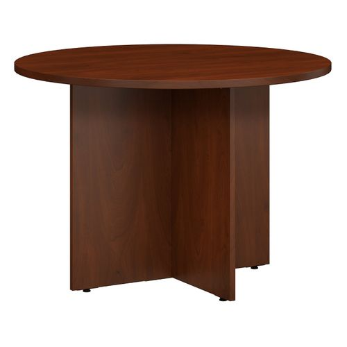 BUSH BUSINESS FURNITURE 42W ROUND CONFERENCE TABLE WITH WOOD BASE. FREE SHIPPING - <font color=red><b>OUT OF STOCK</b></font>