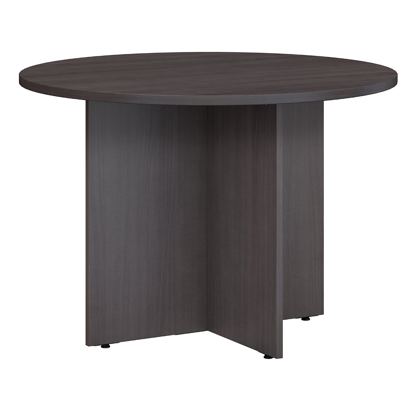 BUSH BUSINESS FURNITURE 42W ROUND CONFERENCE TABLE WITH WOOD BASE. FREE SHIPPING