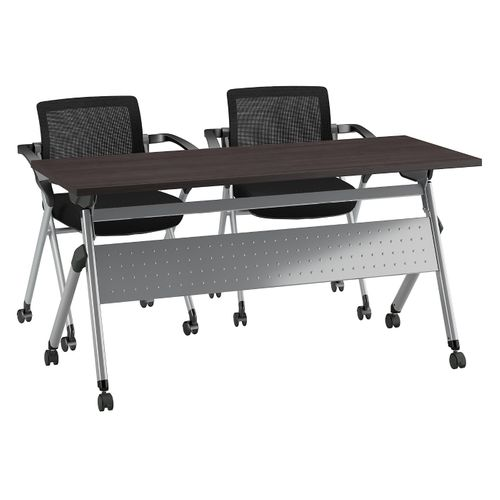 BUSH BUSINESS FURNITURE 60W X 24D FOLDING TRAINING TABLE WITH SET OF 2 FOLDING CHAIRS. FREE SHIPPING - <font color=red><b>OUT OF STOCK</b></font>