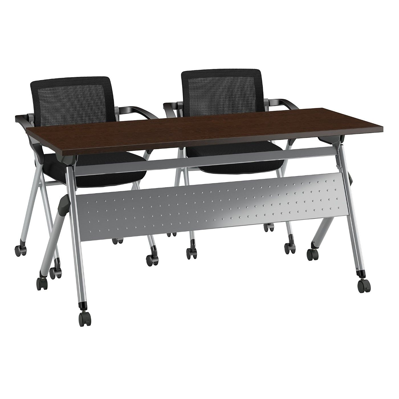 BUSH BUSINESS FURNITURE 60W X 24D FOLDING TRAINING TABLE WITH SET OF 2 FOLDING CHAIRS. FREE SHIPPING
