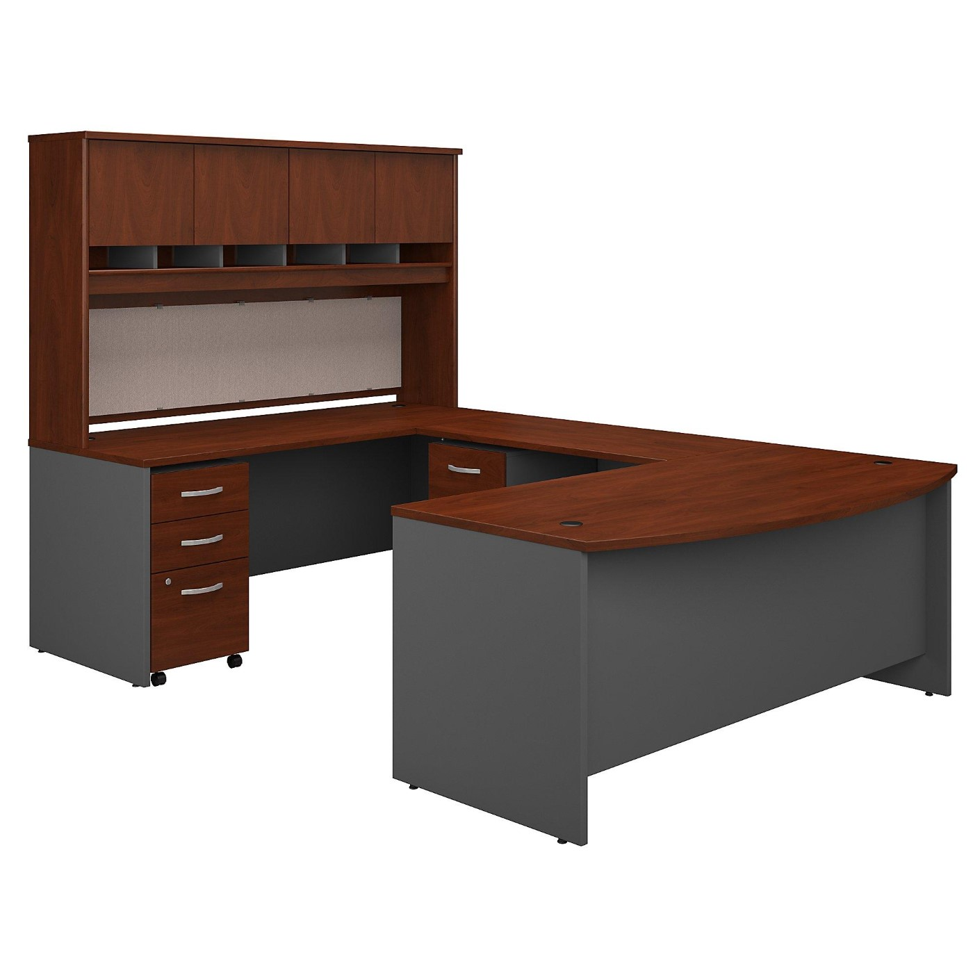 BUSH BUSINESS FURNITURE 72W BOW FRONT U SHAPED DESK WITH HUTCH AND STORAGE. FREE SHIPPING.