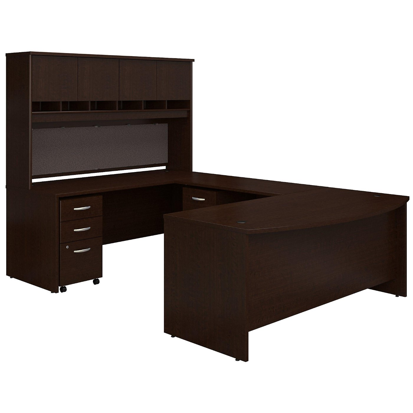 BUSH BUSINESS FURNITURE 72W BOW FRONT U SHAPED DESK WITH HUTCH AND STORAGE. FREE SHIPPING.  SALE DEDUCT 10% MORE ENTER '10percent' IN COUPON CODE BOX WHILE CHECKING OUT.