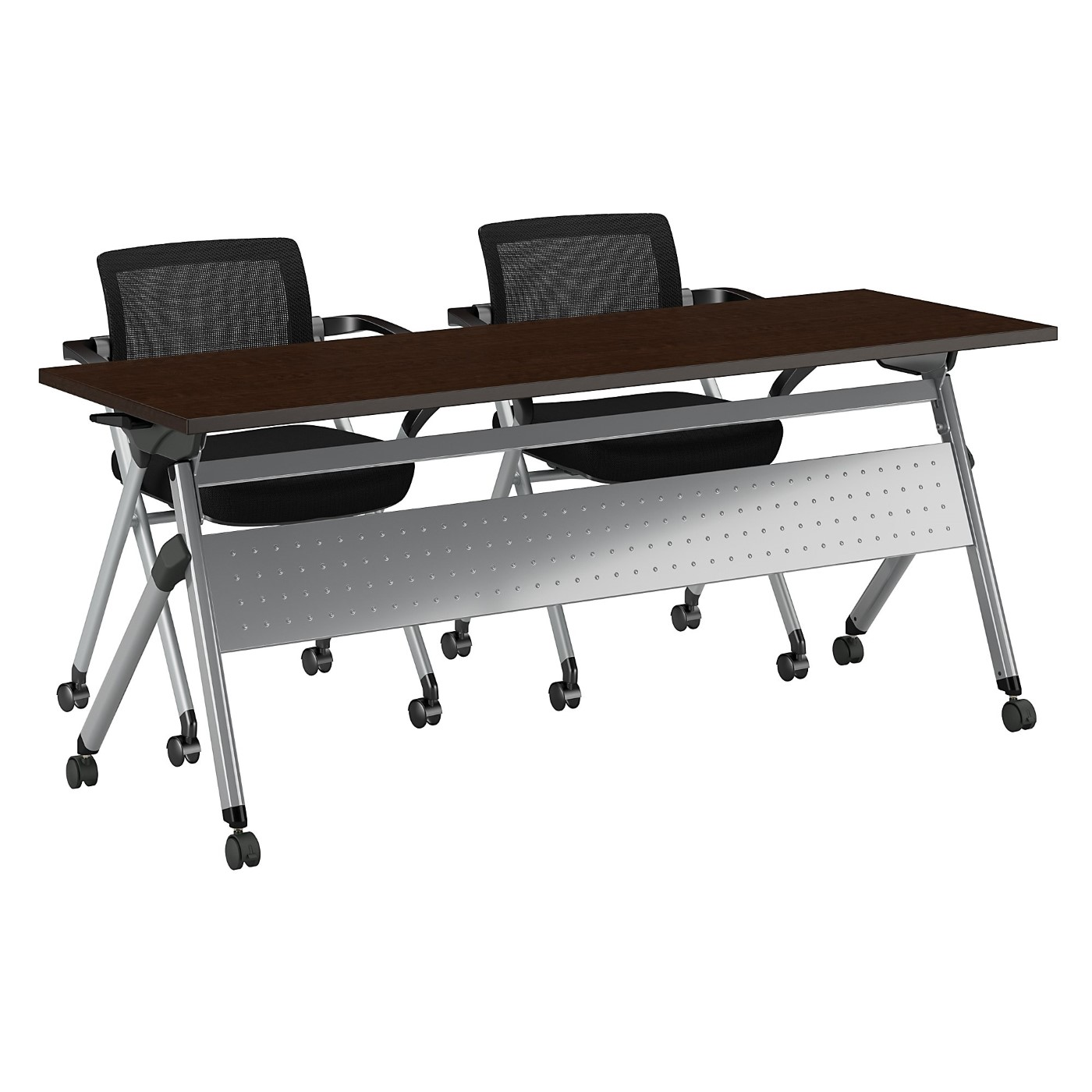BUSH BUSINESS FURNITURE 72W X 24D FOLDING TRAINING TABLE WITH SET OF 2 FOLDING CHAIRS. FREE SHIPPING