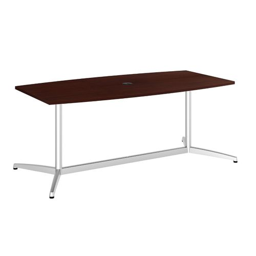 BUSH BUSINESS FURNITURE 72W X 36D BOAT SHAPED CONFERENCE TABLE WITH METAL BASE. FREE SHIPPING - <font color=red><b>OUT OF STOCK</b></font>