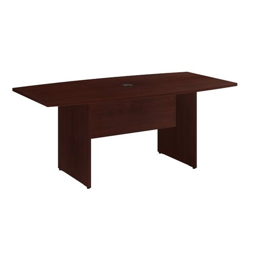 BUSH BUSINESS FURNITURE 72W X 36D BOAT SHAPED CONFERENCE TABLE WITH WOOD BASE. FREE SHIPPING