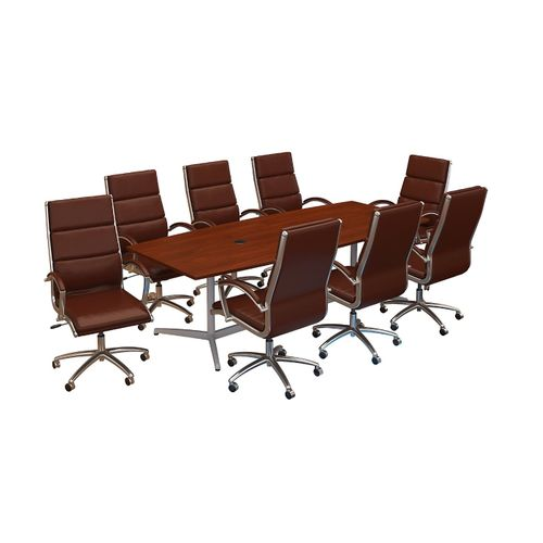 BUSH BUSINESS FURNITURE 96W X 42D BOAT SHAPED CONFERENCE TABLE WITH METAL BASE AND SET OF 8 HIGH BACK OFFICE CHAIRS. FREE SHIPPING - <font color=red><b>OUT OF STOCK</b></font>