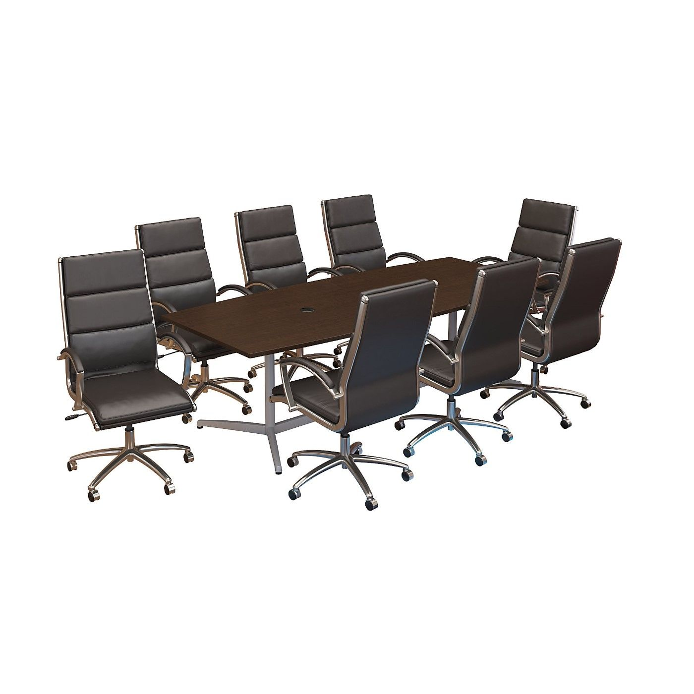 BUSH BUSINESS FURNITURE 96W X 42D BOAT SHAPED CONFERENCE TABLE WITH METAL BASE AND SET OF 8 HIGH BACK OFFICE CHAIRS. FREE SHIPPING