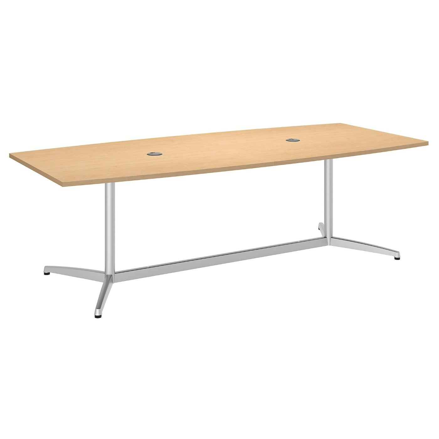 BUSH BUSINESS FURNITURE 96W X 42D BOAT SHAPED CONFERENCE TABLE WITH METAL BASE. FREE SHIPPING